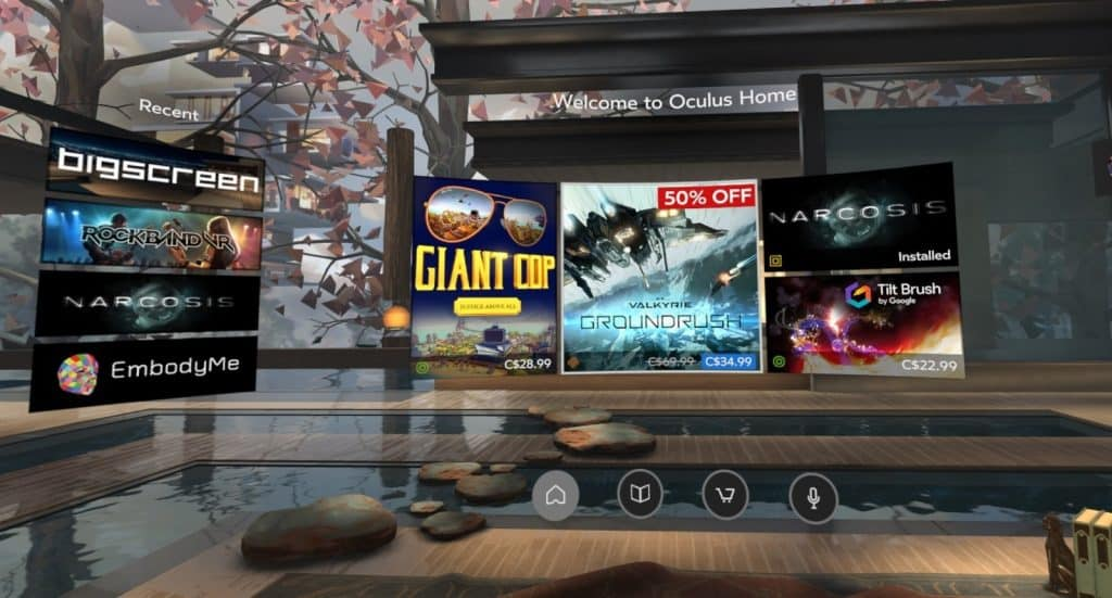 Oculus Home virtual reality store